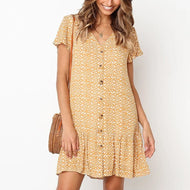 V-neck Button Print Short Sleeve Mini Dress
