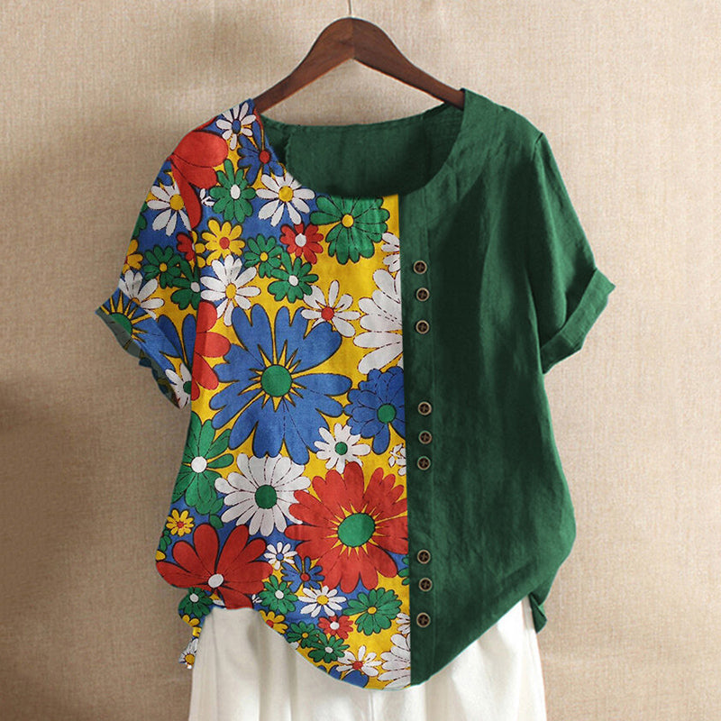 Daisy Flower Print Short Sleeve T-shirt