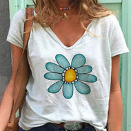 Printed Short Sleeve V-neck T-shirt