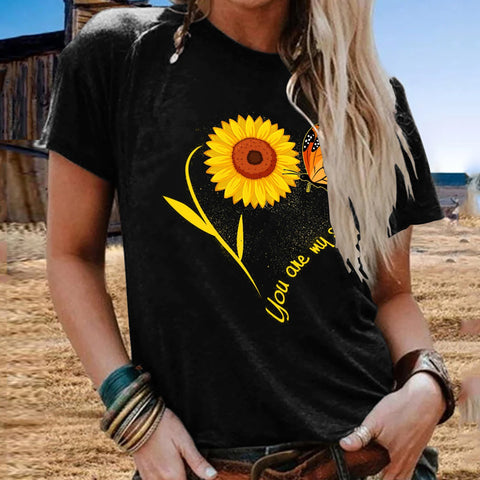 Sunflower Print Short-sleeved Round Cotton T-shirt & Tops