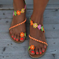 Cute Sweet Floral Flat Sandals