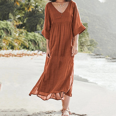 European and American Fashion Solid Color Loose Cotton Linen Dress