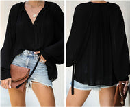 Pleated Banded V-neck Chiffon Loose Top