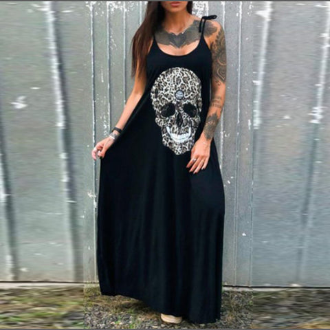 Sleeveless Sling Skull Print Dress