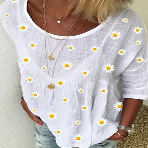 Daisy Print Crew Neck Top