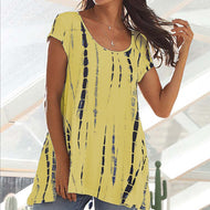 Short Sleeve Printed Round Neck Top