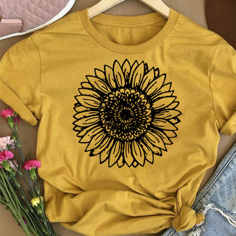 Chrysanthemum Printed Short Sleeve Casual T-shirt