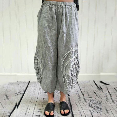 Cotton and Linen Loose Trousers Wide Leg Pants