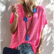 V-neck Candy-colored Loose-sleeved Women's T-shirt
