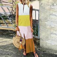 V-neck Sleeveless Loose Color-block Cotton Casual Dress