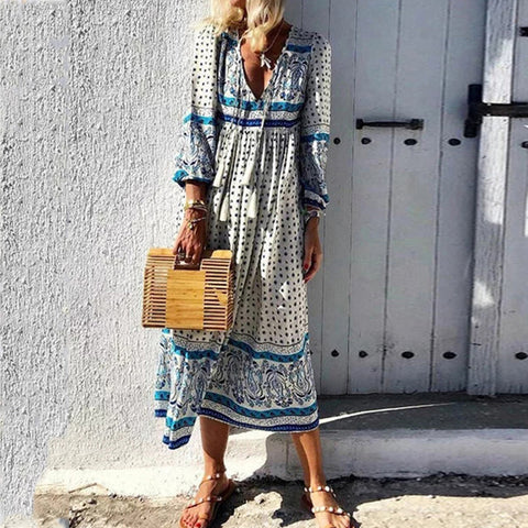 V-neck Printed Long-sleeved Maxi Dress