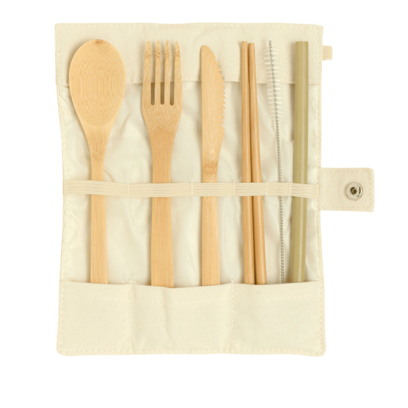 Bamboo Cutlery with Cotton Pouch - Full Set - Jiembo