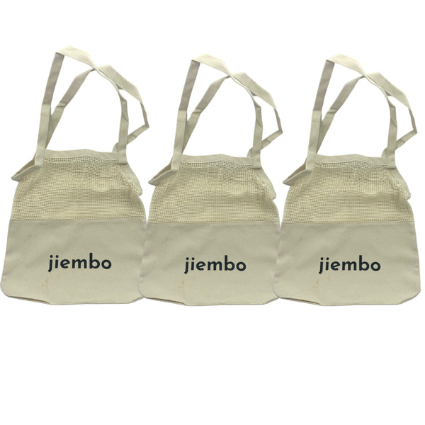 3 Pack Eco Shopping Tote Bags 100% Cotton - Bundle and Save! - Jiembo
