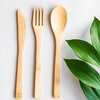 Bamboo Cutlery with Cotton Pouch - Full Set