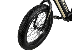 Rambo Bikes - The Rambo Ryder 750W 24 48V E-Bike BLACK/TAN  🚴‍♂️ - All Wheels Mobility