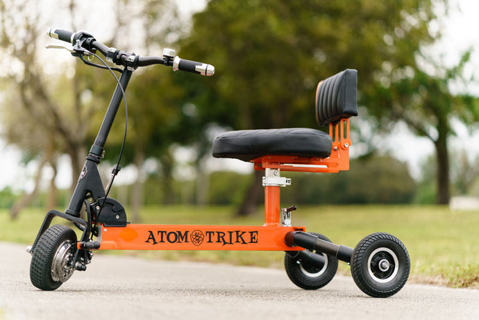ATOM TRIKE - 250W 24V Electric Scooter Standard or Deluxe BLACK RED/BLUE 🚴‍♂️ - All Wheels Mobility