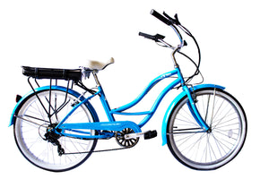 "Micargi - Bali 26"" Cruiser Shimano Electric Bike Women Men SKY BLUE, MATTE GREY 🚴‍♂️ - All Wheels Mobility"