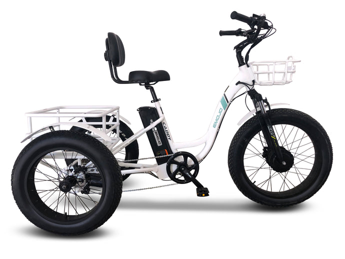 Emojo - Caddy PRO HD 500W 48V E-Trike Bike WHITE 🚴‍♂️ - All Wheels Mobility