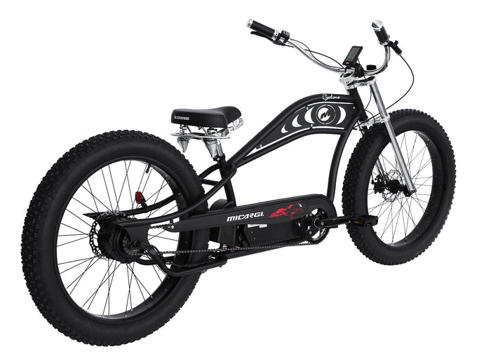 Micargi - Cyclone 26″ 500W 36V Fat Tire Electric Chopper Style Stretch Cruiser MATTE BLACK, MATTE GREY  🚴‍♂️ - All Wheels Mobility