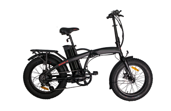 GlareWheels - Rebel Fat Tire Sport E-Bike BLACK WHITE 🚴‍♂️ - All Wheels Mobility