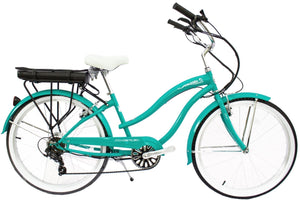 "Micargi - LUNA 26"" Cruiser Shimano Electric Bike MATTE BLACK, AQUA GREEN, CELEST 🚴‍♂️ - All Wheels Mobility"