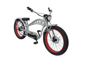 Micargi - Cyclone Deluxe 26″ 500W 36V Fat Tire Electric Chopper Style Stretch Cruiser BLACK, SILVER, RED 🚴‍♂️ - All Wheels Mobility