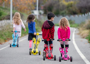 GlareWheels - Y1 Kids Foldable Scooter Smoking Rocket RED PINK BLUE BLACK YELLOW 🛴 - All Wheels Mobility