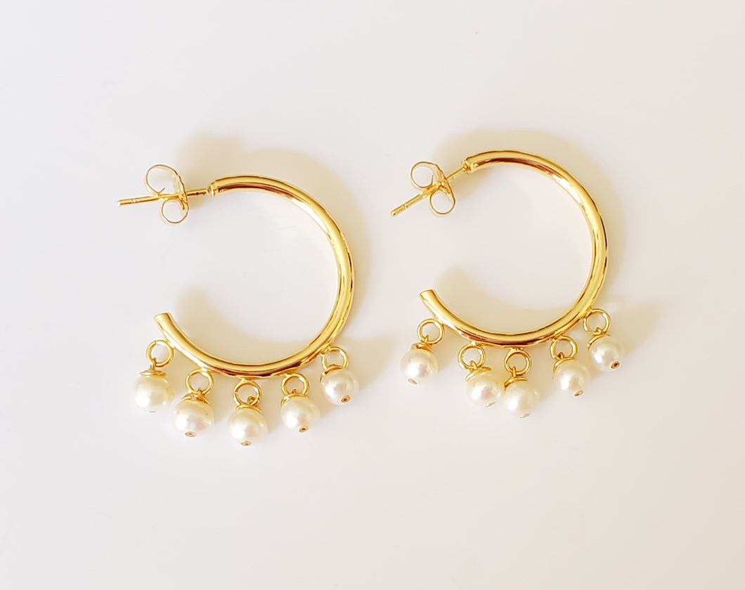 Dangle Pearls Hoop Earrings