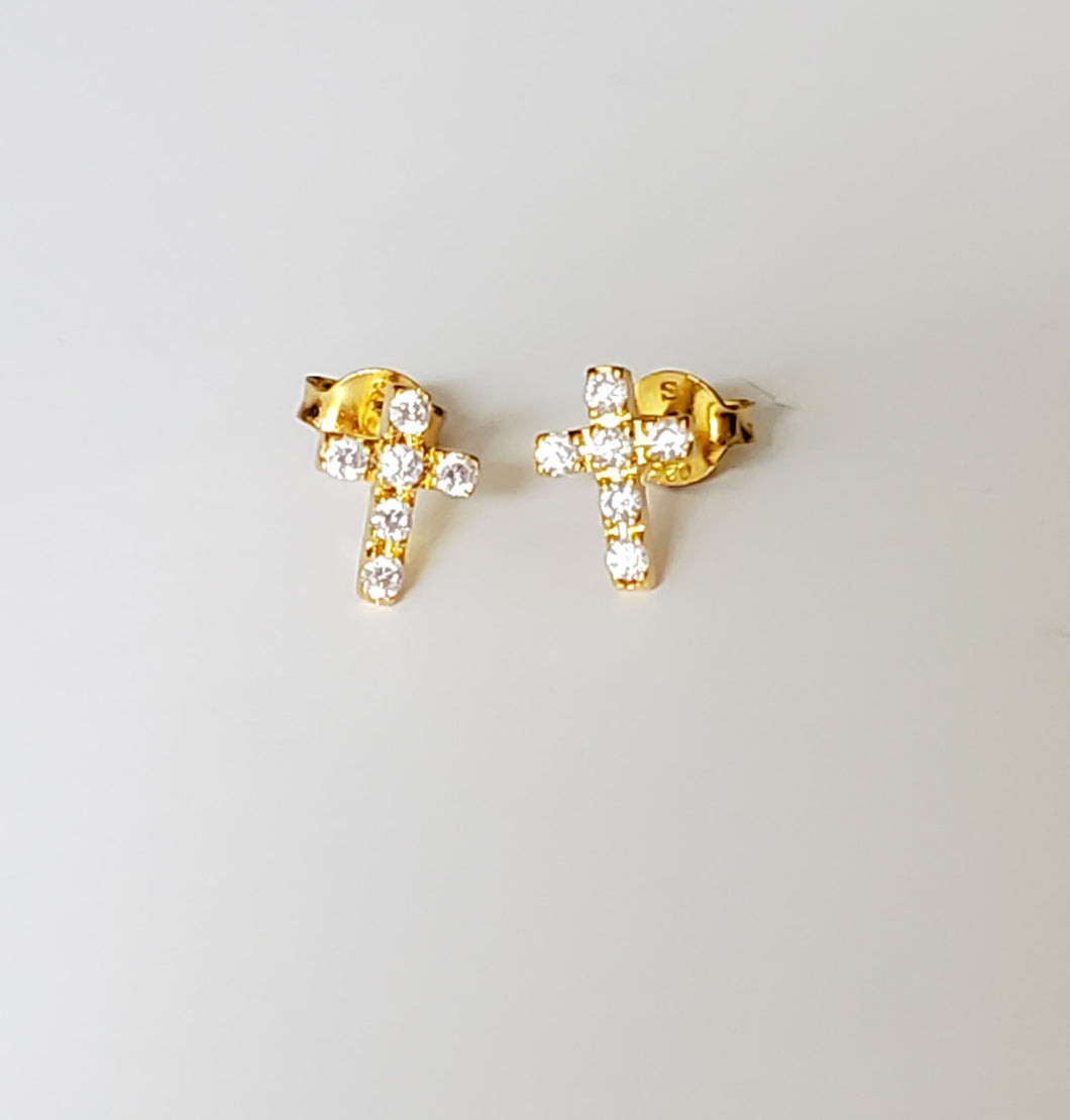 Cross Pave Stud Earrings