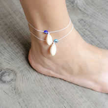 Load image into Gallery viewer, Cowrie Shell and Eye Anklet