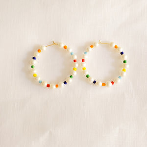 Rainbow Beads and Pearls Hoop Earrings