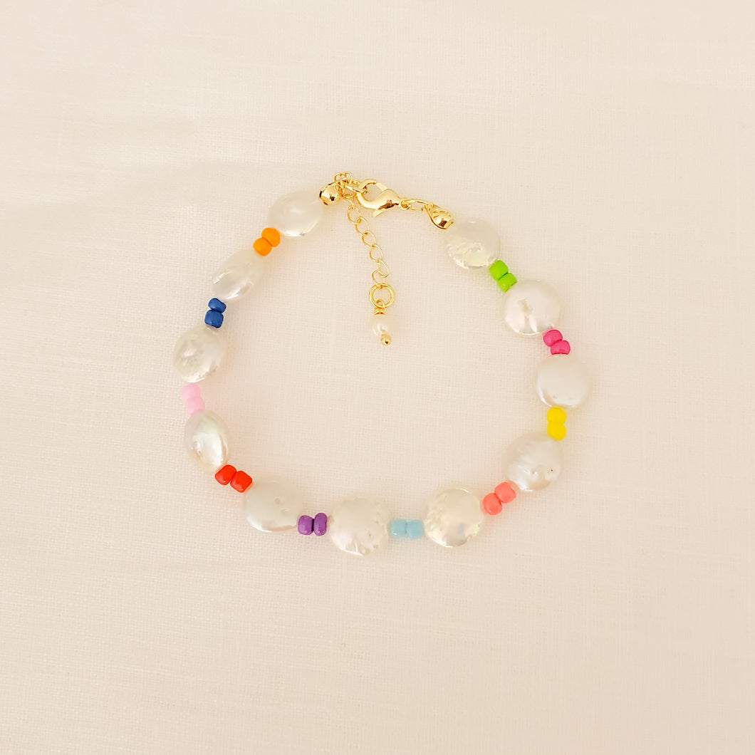 Coin Pearls and Color Beads Bracelet