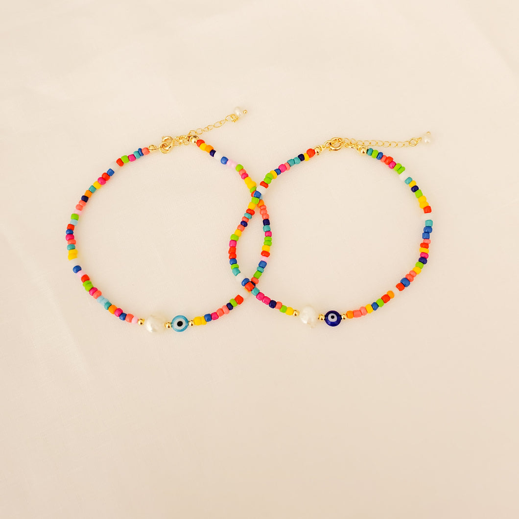 Colorful Beads Pearl and Eye Anklets