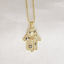Load image into Gallery viewer, Double Hamsa Eye Necklace
