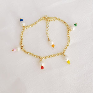 Mixed Pearls and Colorful Beads Bracelet