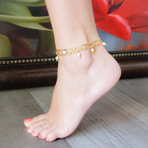 Cuban Link Chain and Stone Anklet