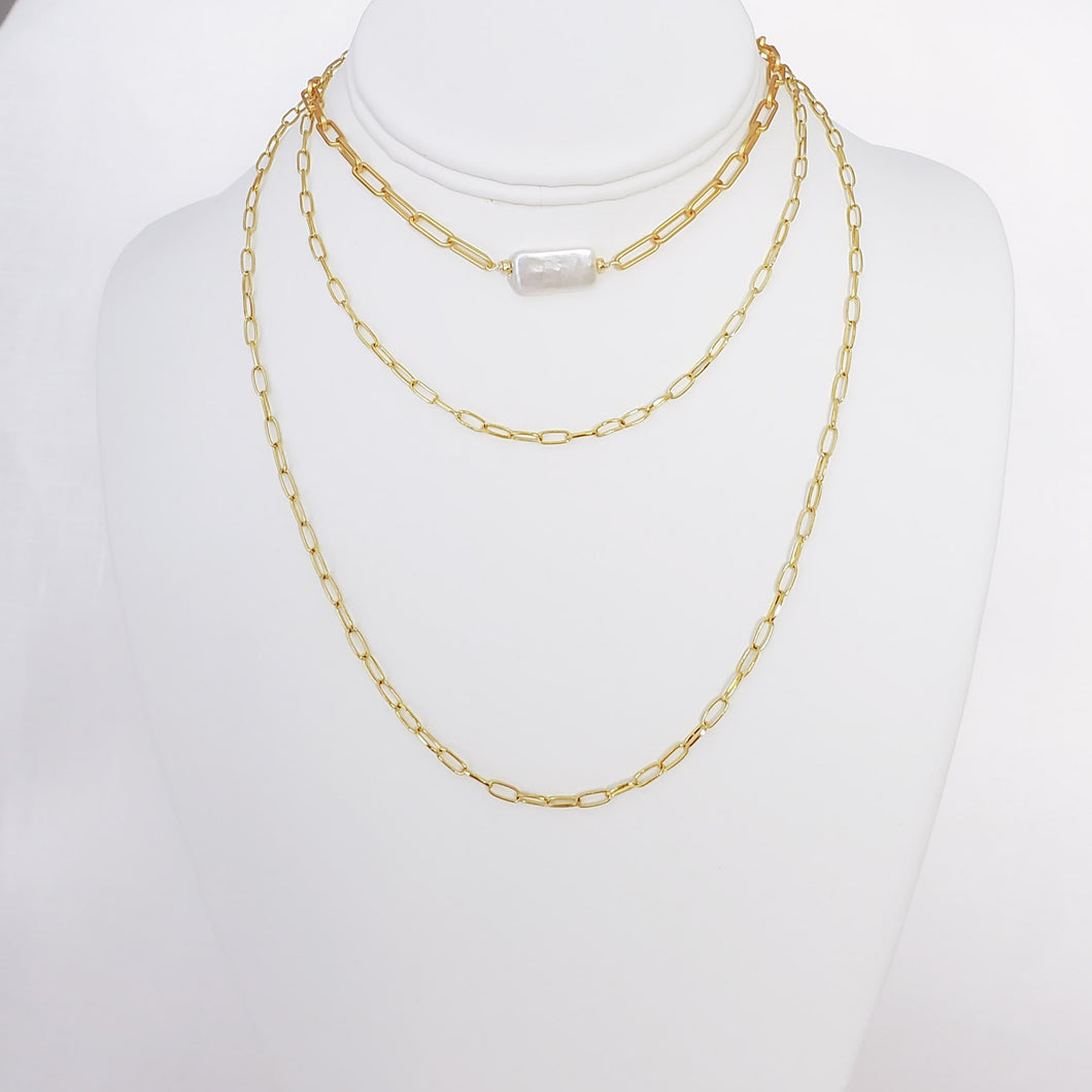 Pearl And Links Chain Necklace