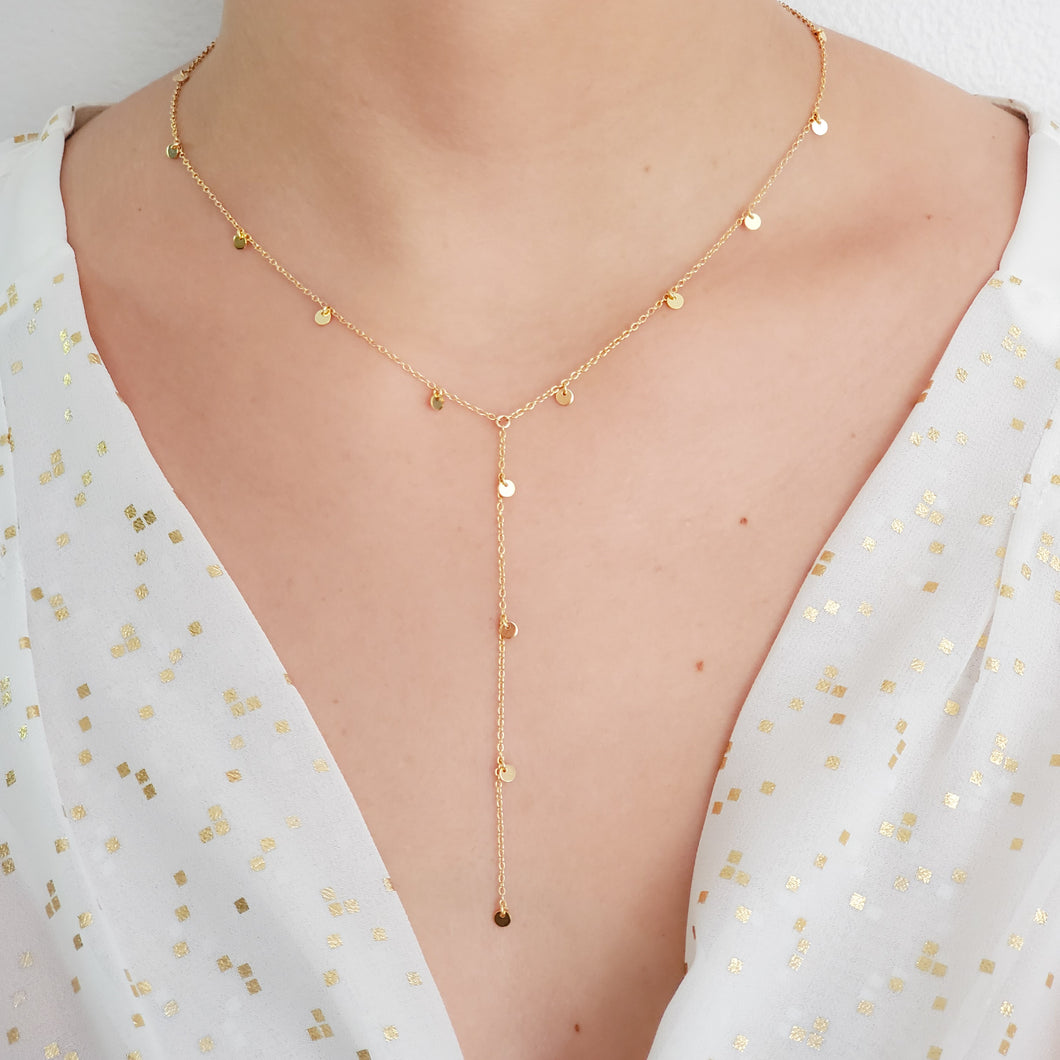 18k Vermeil Gold Coin Choker and Lariat Necklace.
