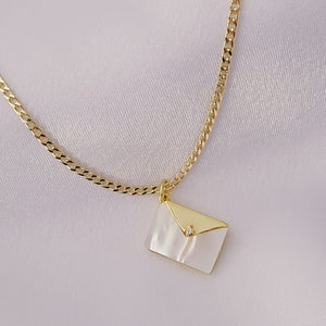 Mother of Pearl Envelope Charm Necklace
