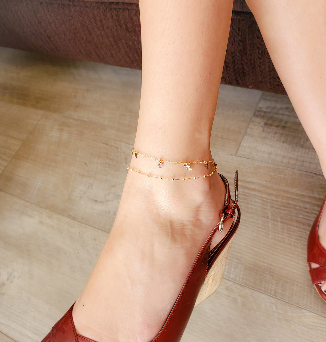 Gold Bubble Chain Anklet