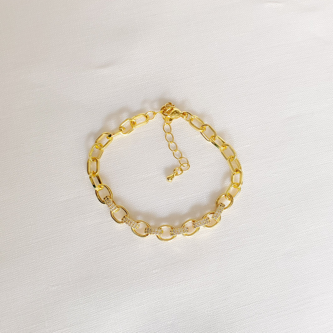 Half Pave Links Bracelet