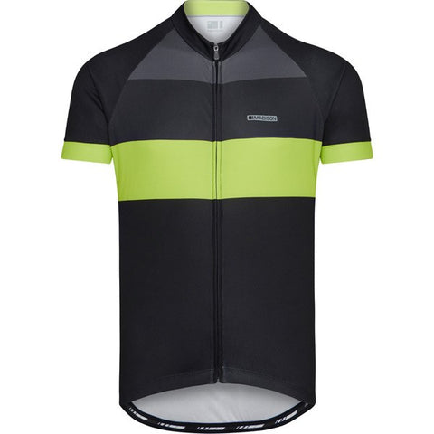 Peloton men's short sleeve jersey, blocks black / lime punch large