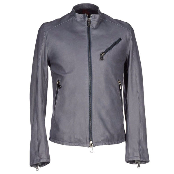 Men Slim Fit Grey Motorcycle USA Leather Jacket