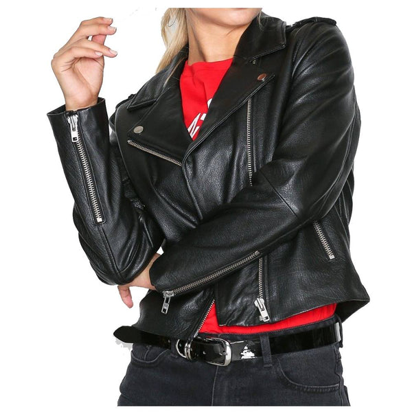 WOMEN SLIM FIT FASHION BIKER LEATHER JACKET - Jackethunt