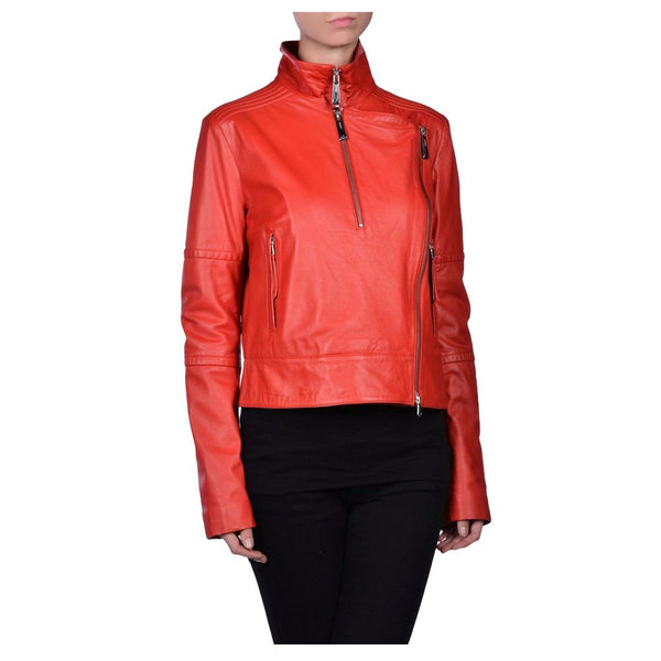 WOMEN RED GENUINE LEATHER JACKET BIKER JACKET -