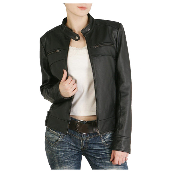 WOMEN LAMBSKIN LEATHER NEW MOTORCYCLE DESIGNER BIKER SOFT LEATHER JACKET - Jackethunt