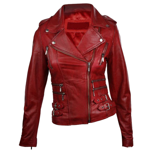 WOMEN VTG WINE RED MOTORCYCLE LEATHER JACKET -