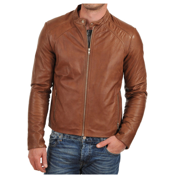 Brown Tan Biker Jacket -