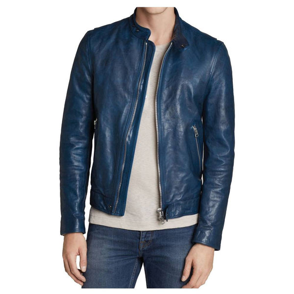 Slim Fit Blue Biker Jacket - Jackethunt