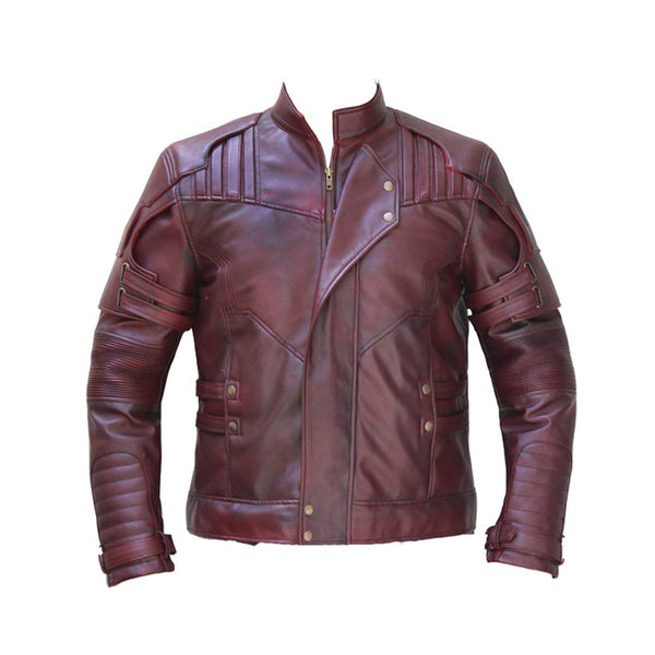MENS LEATHER JACKET BURGUNDY LAPEL COLLAR STRIPS HEAVY SHOULDER LEATHER JACKET -